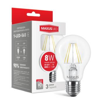 LED Лампа MAXUS  А60, 8W, тепле світло ,E27