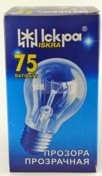 """Лампа розжарювання 75 W Е27 """"Іскра"""" (індивід. упак.)"""