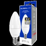 LED Лампа GLOBAL C37 CL-F 5W тепле світло