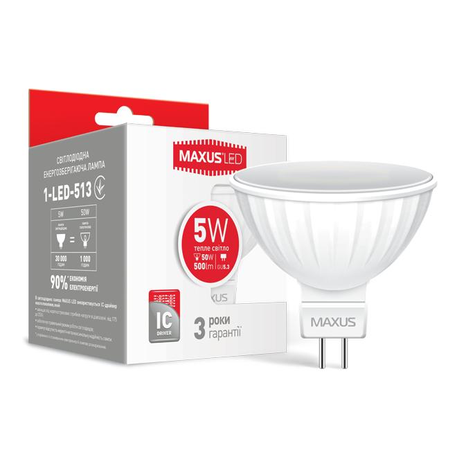 LED Лампа MAXUS MR16 5W тепле світло